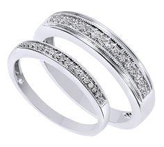 Diamond Wedding Band in 10K White Gold 1//6 cttw, G-H,I2-I3 Size-13