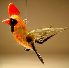 Glass Red Bird Cardinal Ornament