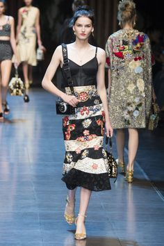 Black Spaghetti Strapped Dress accented with Beige and Multi Color Glowers by Dolce & Gabbana Spring 2016 Ready-to-Wear Collection Photos - Vogue