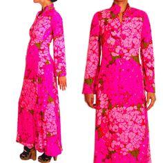 KEN SCOTT ITALY Vintage 60s/ 70s Pink Floral Hostess Maxi Dress S. EUC #KenScott #Maxi #Cocktail