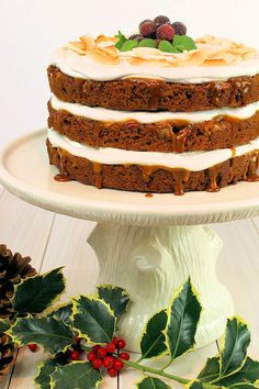 Gingerbread Layer Cake with Bourbon Pecans & Caramel Sauce by WickedGoodKitchen.com