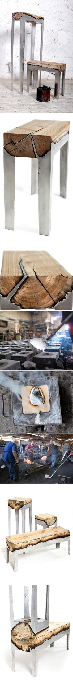 wood casting par Hilla Shamia  Assises bois + aluminium par Hilla Shamia    Hilla Shamia a baptisé son dernier concept « wood casting », il utilise le bois brut et l'intègre dans son mobilier en coulant de l'aluminium en fusion.  Une fois refroidi, il découpe les blocs d'aluminium pour mettre à jour le bois brulé en surface, le résultat est simplement magnifique.