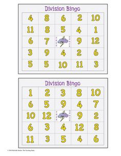 Division Bingo Math Game Covers Divisors 1-12