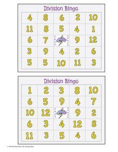 Division Bingo Math Game Covers Divisors 1-12