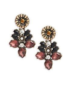 Design Lab Lord & Taylor Floral Cluster Earrings Women's Gold