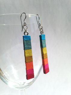 Rainbow Hanji Paper Earrings OOAK Delicate Stripe Dangle Ear rings Hypoallergenic hooks Lightweight