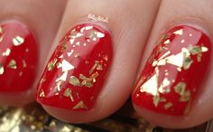 American Apparel Meteor Shower nail polish (over red)