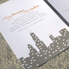 Wedding Invitation Skyline Chicago Wedding by StelieDesigns // skyline