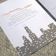 Wedding Invitation Skyline Chicago Wedding by StelieDesigns // skyline