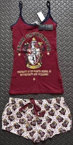 PRIMARK Team Gryffindor Harry Potter Vest & Shorts PJ Hogwarts Set Sizes 6 - 20 - Click. Buy. Love. - 1