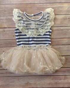 Navy Beige Toddler Girls Tutu Dress, Vintage Toddler Girls Dress, Flower Girl Dress, Holiday Easter, Birthday Dress,Rustic Beach Wedding