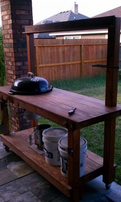 Built a table for my Weber - Ford Powerstroke Diesel Forum Diy Outdoor Kitchen, Bbq Kitchen, Backyard Kitchen, Kitchen Cart, Outdoor Cooking, Outdoor Rooms, Outdoor Living, Outdoor Firewood Rack, Grill Cart