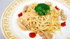 Udon giapponesi ricetta originale con pollo germogli di soia e zenzero, cibo