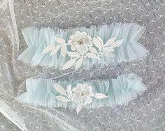 Light Blue Silk Tulle Garter Set Something Blue by ChihiroBridal