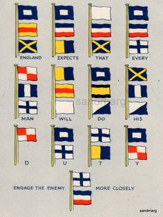 Vintage Flag Plate Nelson's Famous Signal England Expects that Everyman Will Do His Duty