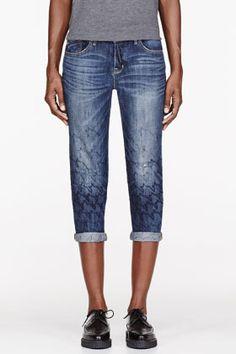 Marc By Marc Jacobs Blue Houndstooth-stitched Boyfriend Crop Jessie Jeans for women   SSENSE