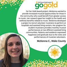 High five to McKenna for earning her Girl Scout Gold Award! McKenna provided increased access to music to people in her community by organizing performances at assisted living centers and hospitals. Awesome work, Girl Scout!