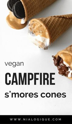 Vegan Campfire Cones | A delicious, gooey twist on the classic s'mores recipe. Vegan desserts, camping, easy snacks, chocolate treat, peanut butter, marshmallow, oreos, desserts for kids, kid desserts, fun recipes
