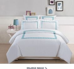 5-Piece Hotel Collection 500 Thread Count Cotton Embroidered Duvet Cover Set Queen
