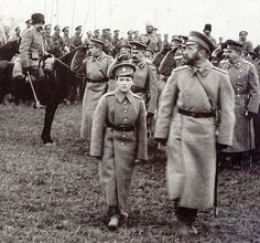 """Tsarevich Alexei Nikolaevich Romanov of Russia and Tsar Nicholas ll of Russia with the army during the WWI. """"AL"""""""