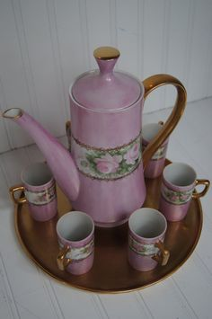 Vintage Hot Chocolate Set - Pretty in Pink by MaisonDecor on Etsy, $94.00