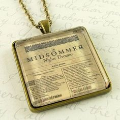 William Shakespeare First Folio Necklace - A Midsummer Night's Dream - Book Jewelry Shakespeare Plays, William Shakespeare, First Folio, Book Jewelry, Clay Jewelry, Jewlery, Dream Book, Midsummer Nights Dream, Order Up