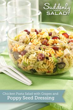 Chicken Pasta Salad with Grapes and Poppy Seed Dressing - Pull off a dinner pasta salad in less than 30 minutes with chicken and crunchy celery, almonds and grapes.