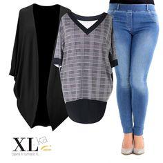 7d02f45d5f Bluzka   tunika w kratkę z dłuższym tyłem - CECILY. Bluzka w kratkę i czarna  narzutka plus size w sklepie XL-ka.
