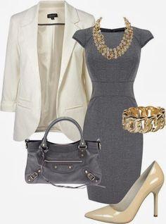 Gray Classic Work Dress | www.pinterest.com/versique/womens-office-fashion-attire-community-board/