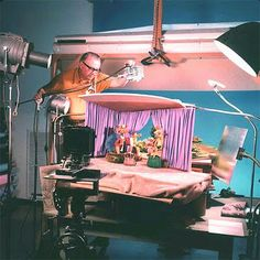Viewmaster slides being shot in studio.