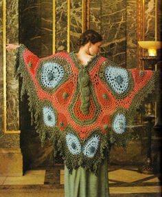 Vintage Bohemian, Vintage 70s, Vintage Fashion, Knitted Shawls, Crochet Shawl, Crochet Coat, Crochet Butterfly, Butterfly Wings, Craft Patterns