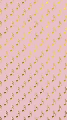 Gold Foil & Pink Musical Notes Phone Wallpaper!