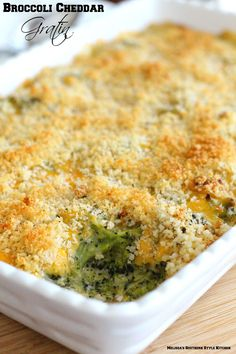Broccoli Cheddar Gratin - Make broccoli casserole from scratch with a scrumptious homemade cheese sauce.