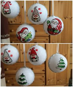 Die ersten bestickten Christbaumkugeln Vorder- und Rückseite Diy Christmas Ornaments, Christmas Ideas, Christmas Bulbs, Cake Pop, Christen, Cross Stitching, Holiday Decor, Handmade, Dots