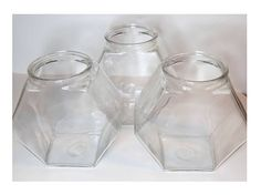 Vintage Hexagon Glass Canisters Set of 3 Cookie Jars
