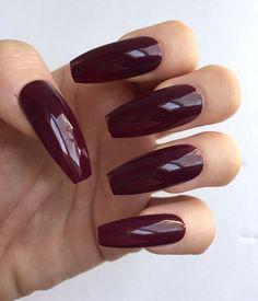 Set of 20 Handmade Dark Berry Press On Long Coffin Ballerina Nails Claws | eBay
