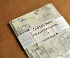 """Set of 12 cards that measure 3"""" by 4"""". Cut from vintage sheet music. Perfect for your Project Life pages! Or use them as journaling cards or for scrapbooking or altered art. So many uses! Rounded corners. Packed in a glassine sleeve."""