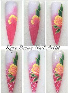 Love the design. Rose Nail Art, Floral Nail Art, Nail Art Diy, Uñas One Stroke, One Stroke Nails, Edge Nails, Nail Polish Designs, Nail Art Designs, Sculpted Gel Nails