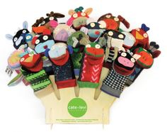 Cate & Levi animal puppets! Shown with display - eco friendly and safe for children