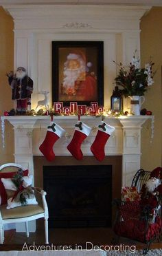 christmas on my mind, christmas decorations, fireplaces mantels, seasonal holiday decor, Last year I softened it up a bit and went with muted reds green and white dedicating it to Santa per my then 5 year old son s request