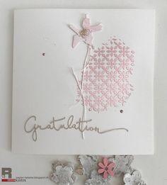 Magic Flower | Liebe Geburtstagsgrüsse dazu habe ich zwei Strukturpasten miteinander vermischt um das Pink aufzuhellen in die noch fe...