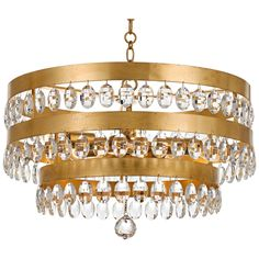 """Crystorama Perla 21 3/4""""W Antique Gold Crystal Chandelier - Style # 20A39"""