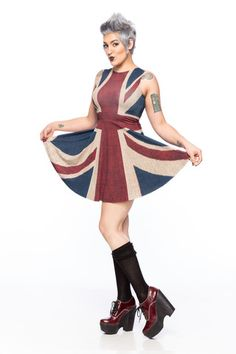 Union Jack A-Line Dress - Gold Bubble Clothing i like this dress! but i wouldnt wear the shoes... id fall.