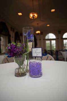 purple and blue wedding center pieces | Simple blue and purple center pieces | wedding ideas