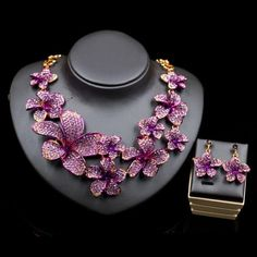 2017 new commodity beautiful flowers jewelry set nigerian wedding necklace and earring for bride or engagement free shipping