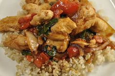 Thai Basil Chicken - this was soooo good!  I used a tablespoon of red pepper and 7 cloves of garlic - perfect amount of heat for us.  I can't wait to make it again.