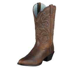 The West is home, and these are its boots. They feature a classic R-toe for a spirited look steeped in Cowgirl country tradition. An elegant stitch pattern, dress rubber sole, and the comfortable ATS