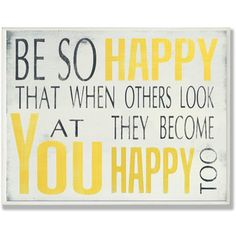Be So Happy Typography Wall Plaque - Overstock™ Shopping - Great Deals on Stupell Accent Pieces