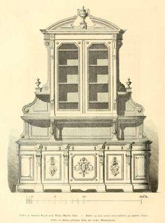 img/dessins meubles mobilier/buffet en bois noirci avec tablette en marbre blanc