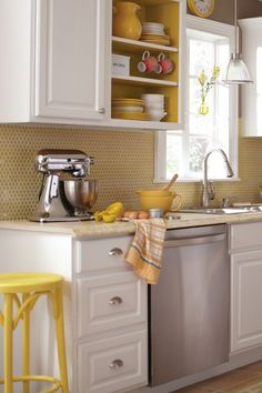 Yellow Kitchen Color Ideas kitchen color scheme: pale yellow, grey, white | charm for the